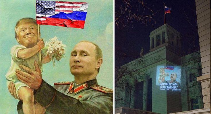 """Das Protest- und AktionskunstnetzwerkPixelHELPERhat gestern Nacht eine Guerilla-Projektion auf die Botschaften der USA und Russland in Berlin gemacht. Das an die Wände geworfene Motiv zeigtPutin, der Trump wie ein Babyin die Höhe hält. Es ist offensichtlich eine Reaktion auf die vor kurzen öffentlich gewordenen Kontakte und etwaigen Absprachen von Trump und Putin vor der Zeit von Trump als Präsident. Fotos:Dirk-Martin Heinzelmann(Mit freundlicher Genehmigung) """"PixelHELPER hat heute…"""