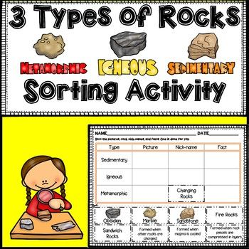 Great sorting activity to review the 3 types of rocks. Students cut & glue the pictures (with example), nick-names, and facts about igneous, sedimentary, and metamorphic rocks.
