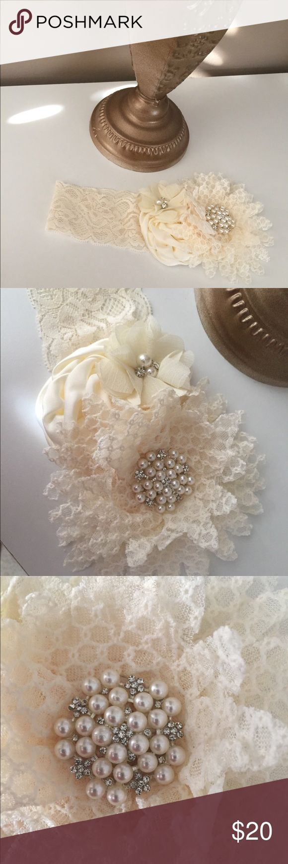 Gorgeous kids headband New, ivory, flowers, pearl and stone accents, stretch lace band . Fits up to about 19 in circumference comfortably. Offers welcome Accessories Hair Accessories