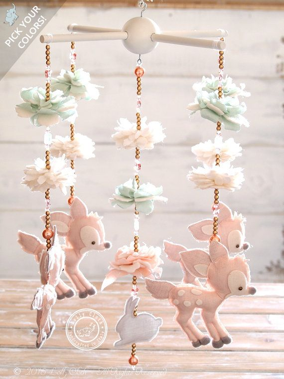 Fawn Baby Mobile with 100+ Swarovski Crystals, Nursery Decor, Baby Girl Nursery Mobile, Baby Mobile Girl, Bambi Mobile, FREE SHIPPING,fa32