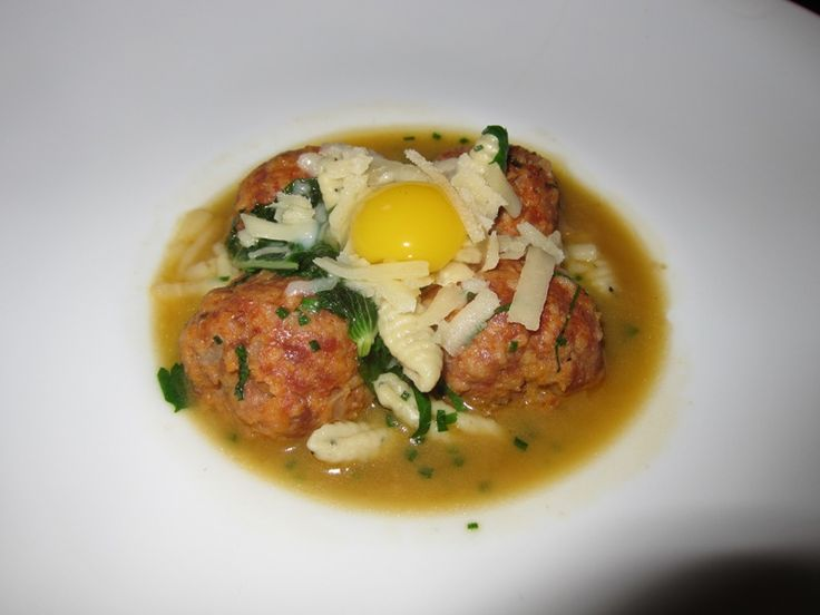 Spicy duck meatballs with cavatelli and quail egg