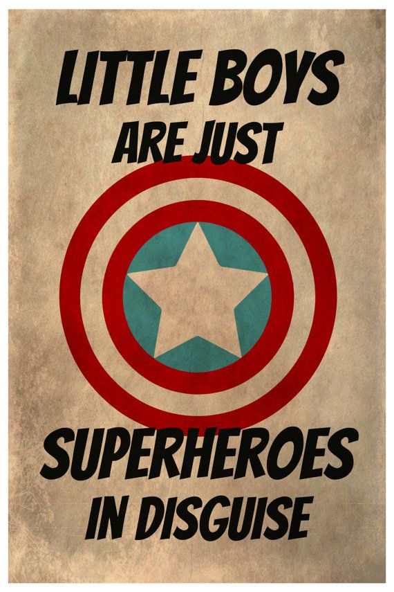 Superhero Kids Poster Marvel Comics Gift by TheWatermelonFactory