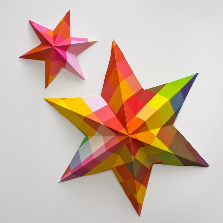Pixelated 3D stars from www.katescreativespace.com #papercrafting #craft