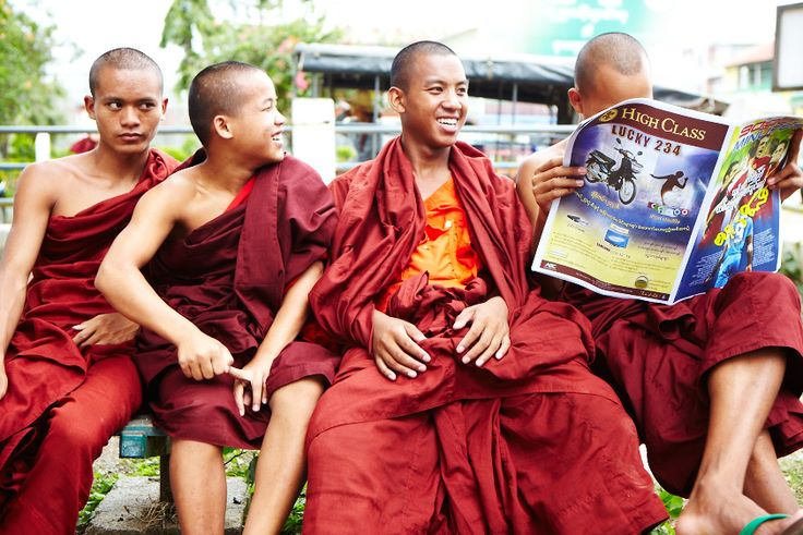 A group of young Buddhist monks in Myanmar (Burma)