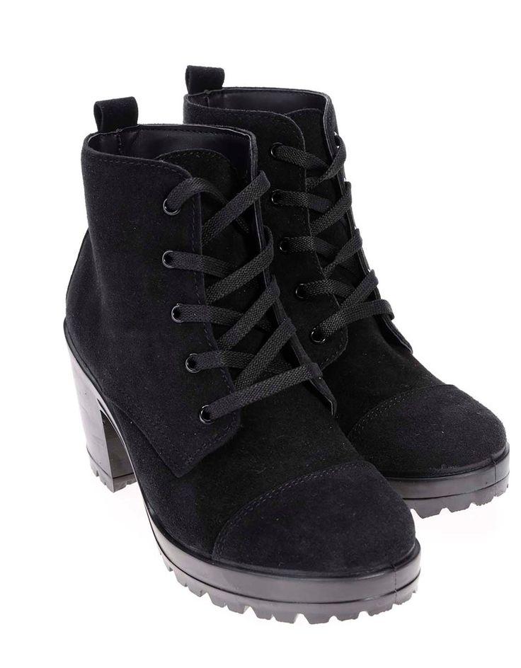 Pieces - Černé kožené kotníkové boty na podpatku  Udele - 1
