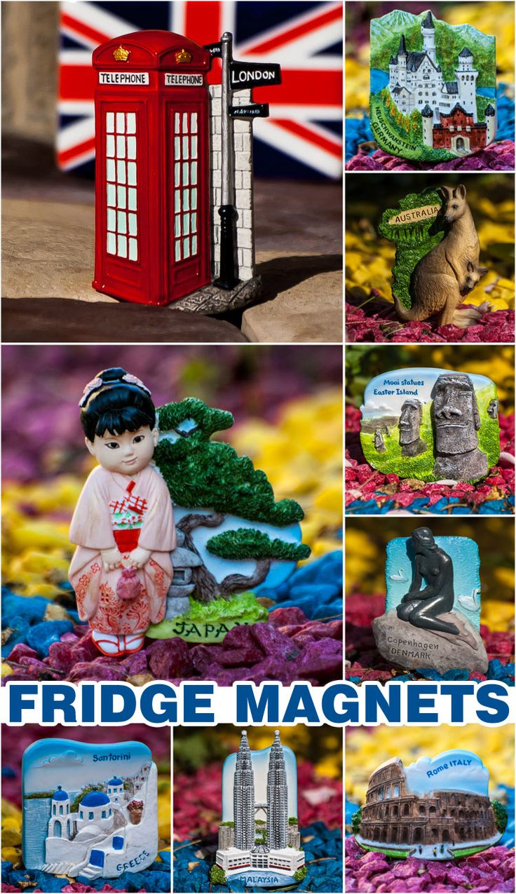 Fridge magnets Internet store - World Wide Gifts - https://www.world-wide-gifts.com/souvenirs/narrow-your-search/worldwide-3d-magnets/  There are lots of resin and metal magnets from different countries of the World.