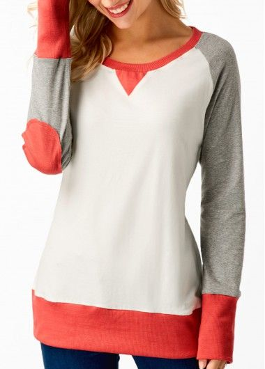 Round Neck Patchwork Long Sleeve T Shirt on sale only US$27.31 now, buy cheap Round Neck Patchwork Long Sleeve T Shirt at liligal.com