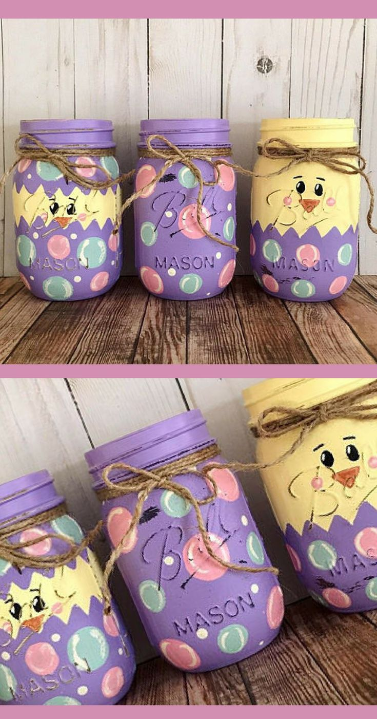 Hatching Easter Egg Mason Jars - Easter Chick in Egg Decorations - Easter Centerpiece, Easter Mantle Decor, Spring Chicken Decor, Hand Painted Mason Jars Set, Pastel Spring Decor, Hand Painted Easter Mason Jars, Spring Gift Idea, Easter Egg Hunt Decor, Easter Party Decor, Farmhouse Easter, Spring Farmhouse, Shabby Chic Decor, Baby Shower Decorations #ad