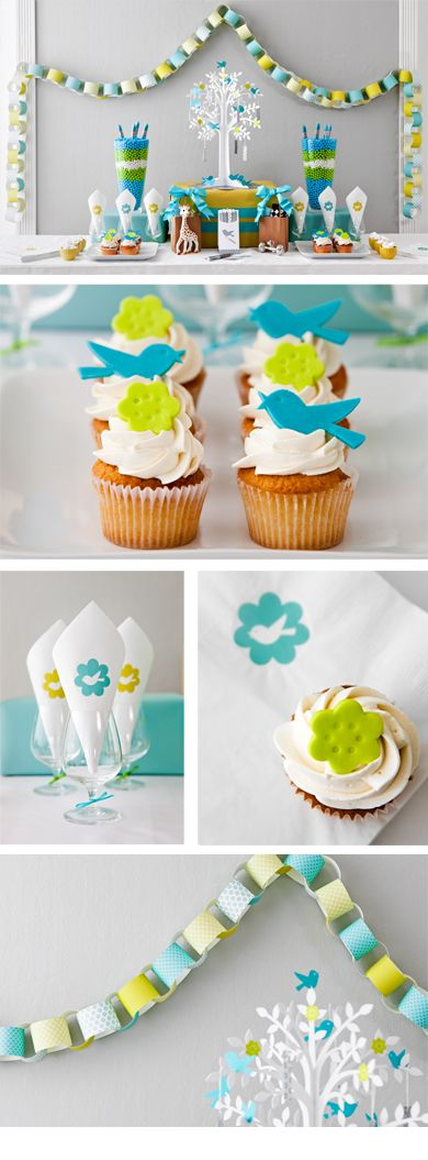 So CUTE! love those colors for a boy baby shower <3 <3: Showers, Paper Garlands, Colors Combos, Baby Shower Decorations, Baby Shower Ideas, Colors Schemes, Parties Ideas, Paper Chains, Baby Shower