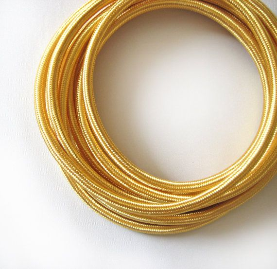 Gold Color Fabric Cloth Covered Wire Electrical Cord by Meter Length | Braided | 3 core | For Vintage Industrial Pendant Lamp or Rewiring