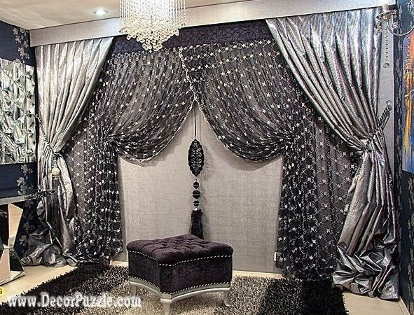 luxury classic curtains and drapes 2017 , black and silver curtains designs