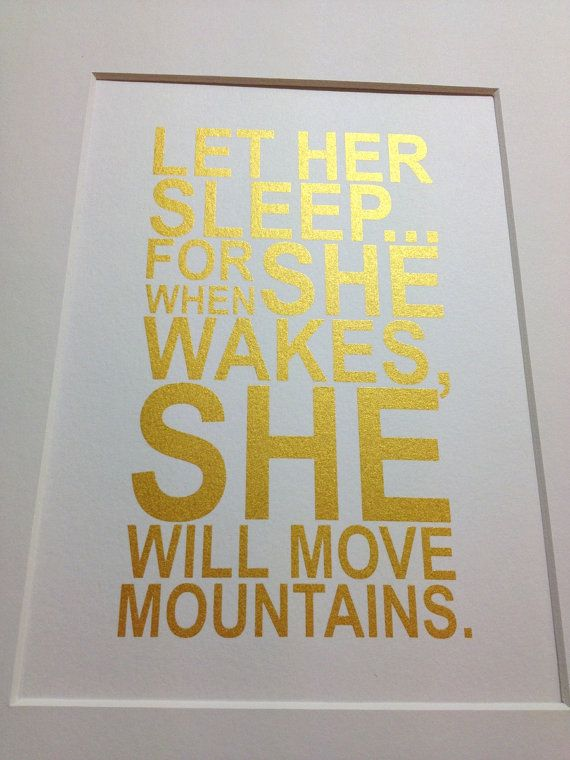 "Baby girl nursery gold quote print ""Let her sleep"" 5x7 Gold on white"