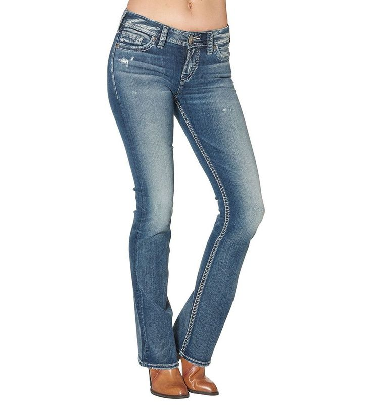 NWT Women's Silver Jeans Tuesday Mid Boot Dark Wash Jeans L13705SA1371 Size 27 #SilverJeans #BootCut