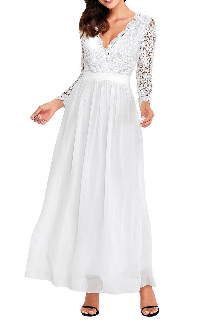 Robe de Soiree Longue Pour Mariage Blanc Dos Nu Manches Longues Crochet Pas Cher www.modebuy.com @Modebuy #Modebuy #Blanc #occasion #inspiration #partydresses #eveningdress
