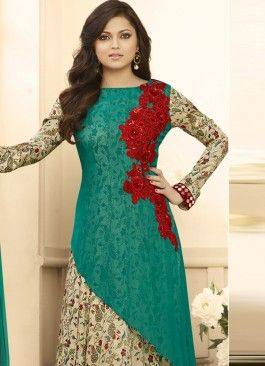 Adorable sea Green ,red and Beige Coloured  Georgette Semi-Stitched Designer Salwar Suit