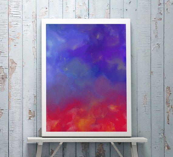 rote Malerei  blaue Malerei  Kunstdruck Leinwand  von DreamingArtDE