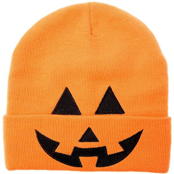 Halloween Neon Orange Pumpkin Knit Beanie ($35) ❤ liked on Polyvore featuring accessories, hats, holiday, lullabies, neon tops, knit tops and orange top
