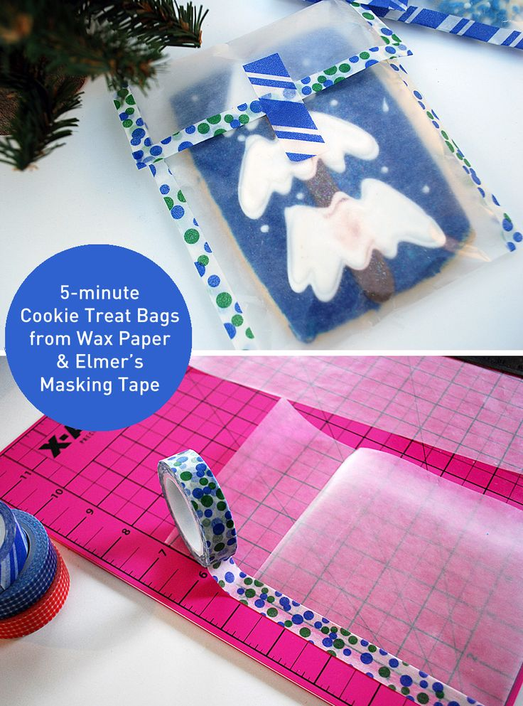 Easy DIY Cookie Packaging in 5 Minutes using plain old wax paper and @Elmer's Repositionable Designer #MaskingTape for #foodgifts