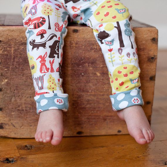 Organic knit baby and toddler legging, woodland print, gender neutral legging