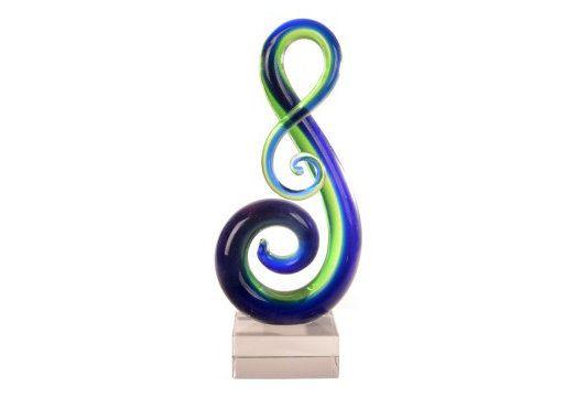 Glass Koru Green/Blue 200mm tall | Kingfisher Gifts Party & Xmas