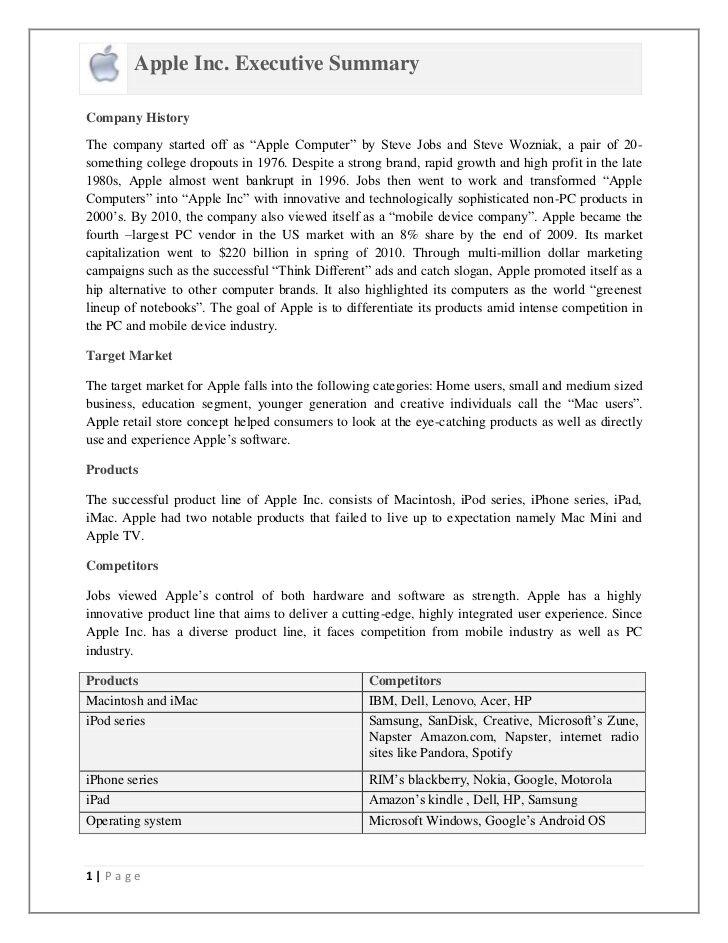 Apple Inc. SWOT Analysis and Executive Summary