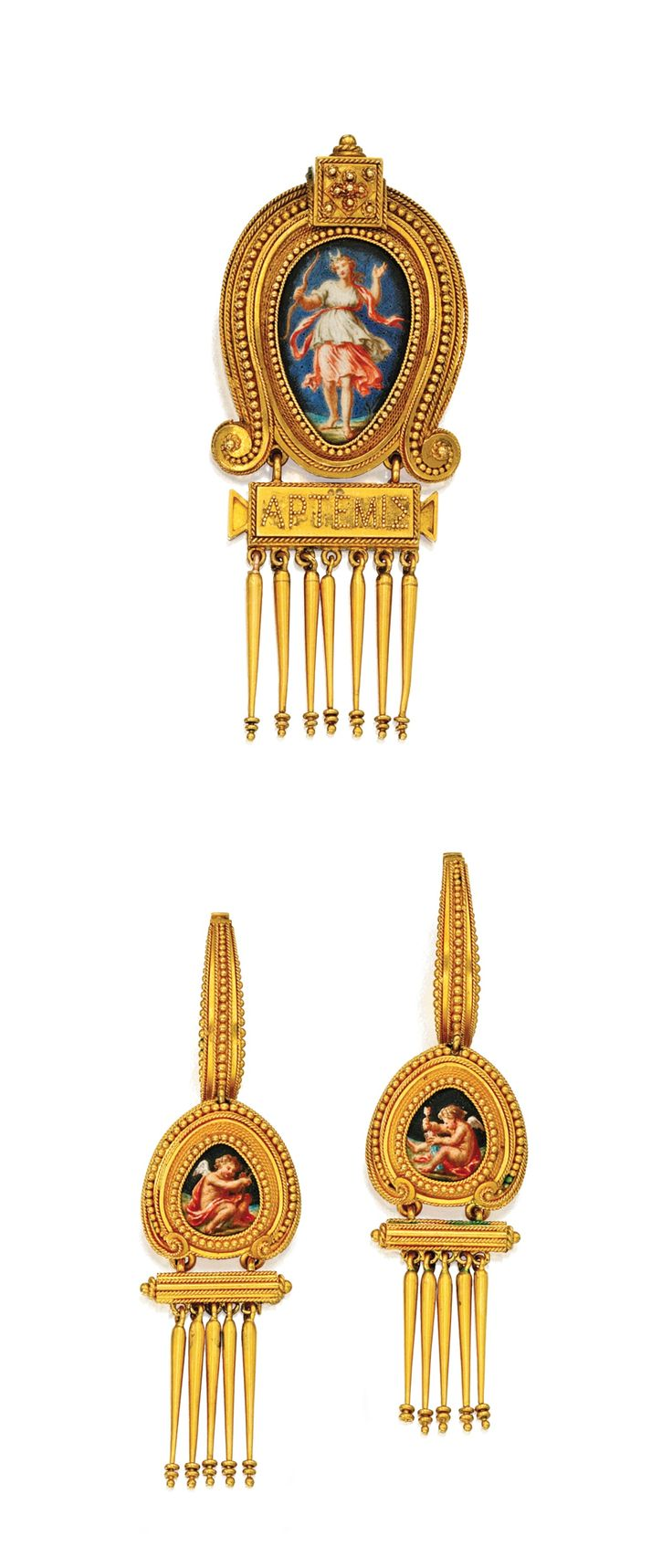ARCHAEOLOGICAL-REVIVAL PENDANT-BROOCH AND PENDANT-EARRINGS, EUGÈNE FONTENAY,  The pendant-brooch centered by a pear-shaped enamel plaque featuring the Greek goddess Artemis framed by gold granulation and twisted gold wire, with a square-shaped cluster of granulation above and below, bearing a plaque with her name in Greek letters, suspending a gold fringe; the earrings of similar design, decorated with pear-shaped enamels featuring Erotes, one with a bow, the other with an arrow, circa 1870.