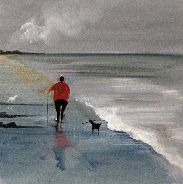 'A Walk At Low Tide' By Painter 'Jennifer Verny-Franks'. Blank Art Cards By Green Pebble. www.greenpebble.co.uk
