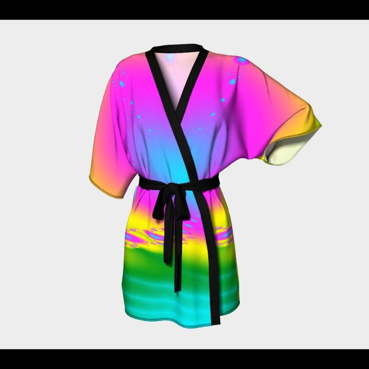 New in store. Rainbow fractal kimono robe.  Add some colour to your day with this rainbow robe.