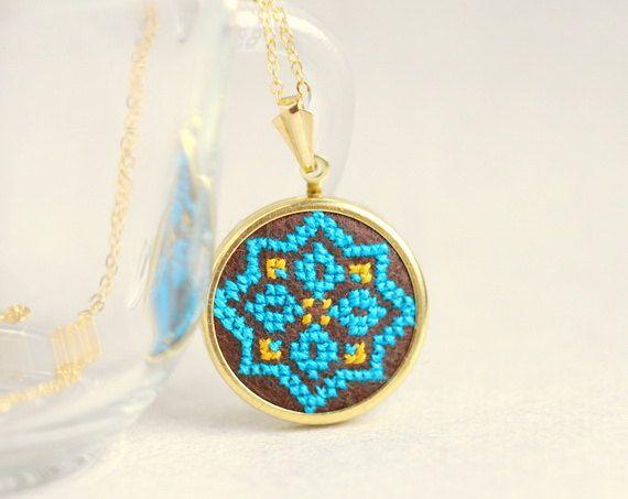 Ethnic necklace Hand embroidered cross stitch jewelry by skrynka