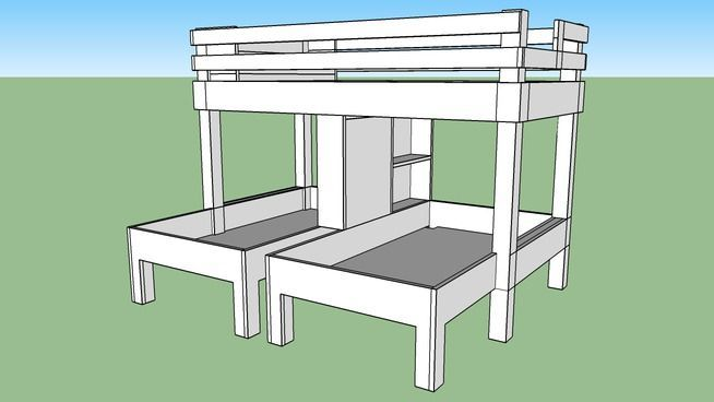 Large preview of 3D Model of triple bunk bed                                                                                                                                                      More