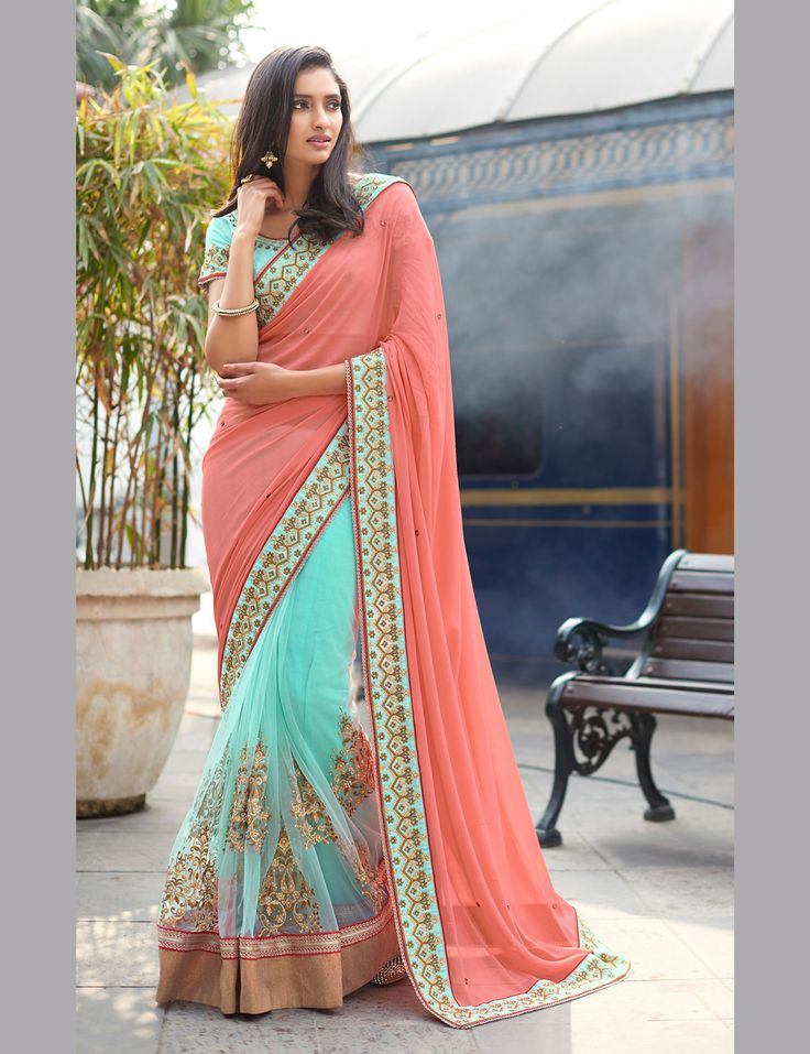 Buy Peach Georgette Half and Half Saree With Blouse 69054 with blouse online at lowest price from vast collection of sarees at Indianclothstore.com.