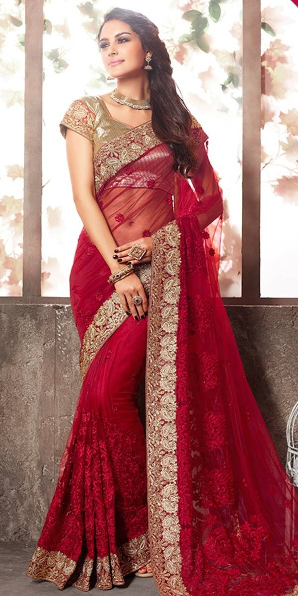 Lavish Red Net Saree With Blouse.