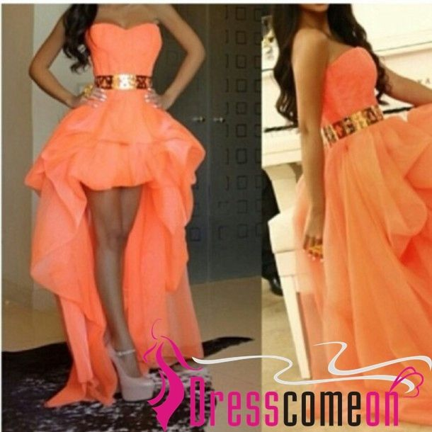179.00$  Buy here - http://vifim.justgood.pw/vig/item.php?t=tumh3s20635 - Custom High Low Sweetheart Chiffon Orange Evening Dress,Orange Prom/Party Gowns
