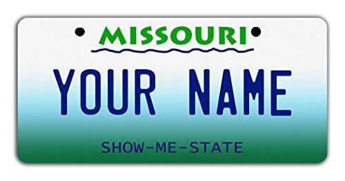 """BleuReign(TM) Personalized Custom Name Missouri State Bicycle Bike Moped Golf Cart 3""""x6"""" License Plate Tag. For product & price info go to:  https://all4hiking.com/products/bleureigntm-personalized-custom-name-missouri-state-bicycle-bike-moped-golf-cart-3x6-license-plate-tag/"""