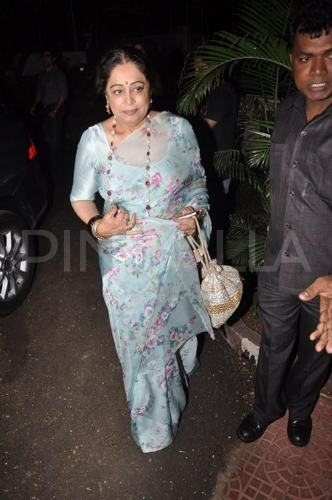pretty floral powder blue saree on Kirron Kher