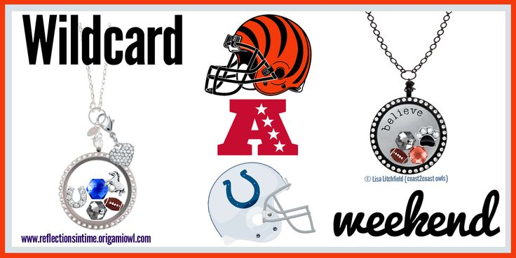 Wildcard Weekend! Does your locket reflect your passion? Let me help you support your team! Give me a call at 949-484-9407 or visit my webpage at www.reflectionsin.... #NFL #Indianapolis #Colts #AFC #Cincinnati #Bengals #NFLplayoffs #origamiowl. Please do not copy, edit, crop, redirect or rebrand my designs, thanks!