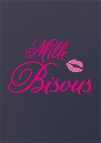 """Carte papier """"mille bisous"""". http://www.dromadaire.com/cartes-saint-valentin"""