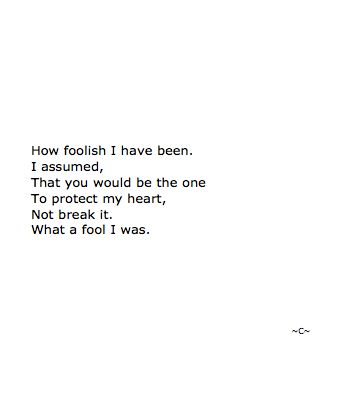 I assumed, that you would be the one to protect my heart, not break it...