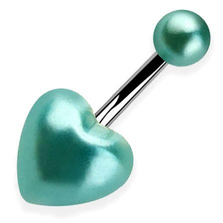 Türkiz gyöngy szív köldök piercing