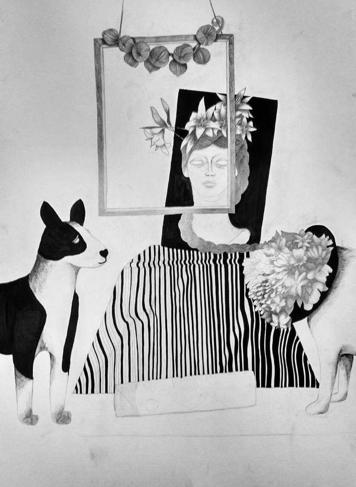 Martwa natura z psem i ramą autor: Julia Karczyńska