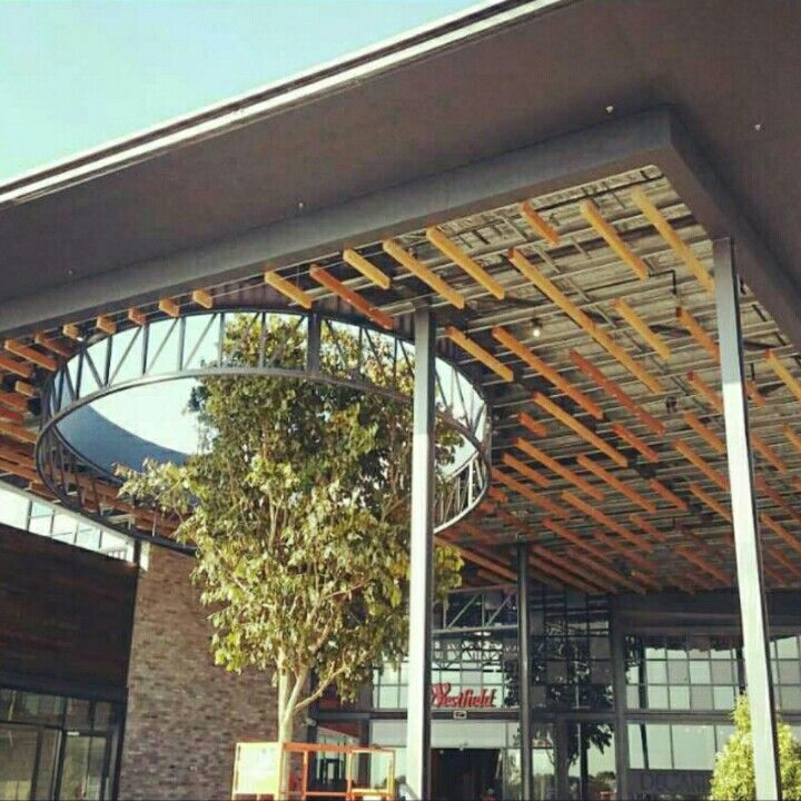 Timber feature ceiling at North Lakes Westfield. Was a challenge as their was no easy way to set it out