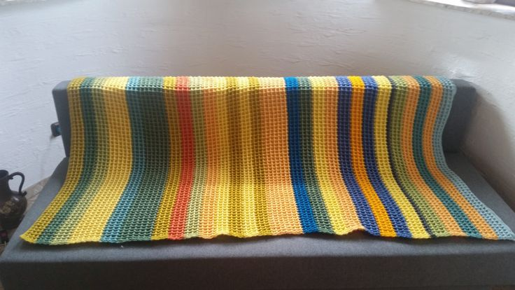 Temperature blanket done in waffle stitch