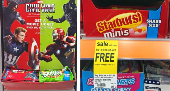 Walgreens Free Movie Ticket Deal + Cheap Share Size Skittles - http://couponsdowork.com/walgreens-weekly-ad/walgreens-free-movie-ticket/