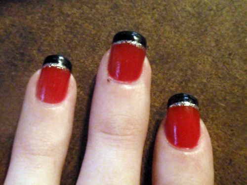 Makeup Nails, Black French, Red French Tips Nails Black, Red Black And Silver Nails, Weddingbee Com Shared, Nails Just, Red Nails, Wedding Nails Red And Black, Hair Nails Ideas