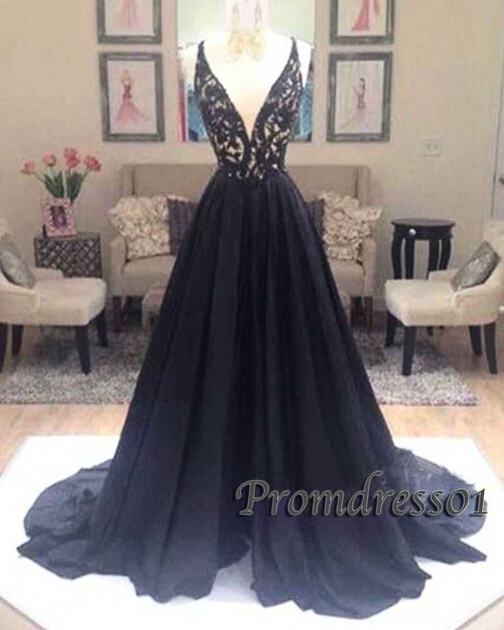 Beautiful v-neck black chiffon open long prom dress with lace top, ball gown, prom dress 2016 #coniefox #2016prom