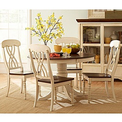 "5-piece dining set from Mackenzie ""captures the essence of a country home showcasing an antique white and cherry finish."" So soft and pretty."