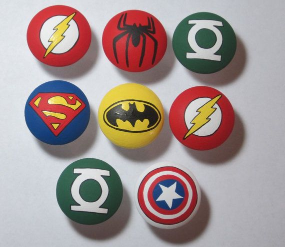 Hand Painted Super Hero drawer pulls pull dresser knob avengers green lantern flash batman superman spiderman hulk PLEASE READ description on Etsy, £3.28