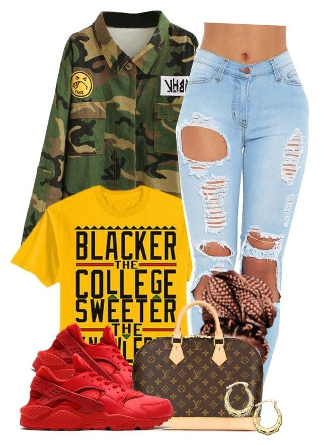 """""""Untitled #535"""" by b-elkstone ❤ liked on Polyvore featuring NIKE, Louis Vuitton, women's clothing, women, female, woman, misses and juniors"""