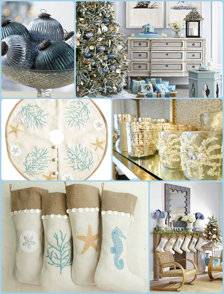 Blue, Beach, Coastal Christmas Decor: I love the color scheme and the stockings!