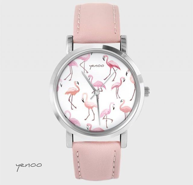 Zegarek, bransoletka - Flamingi - pudrowy róż, skórzany